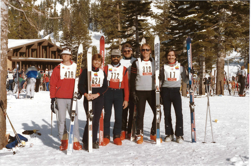 Photograph of the Apple Corporate Ski Challenge ski team circa 1985
